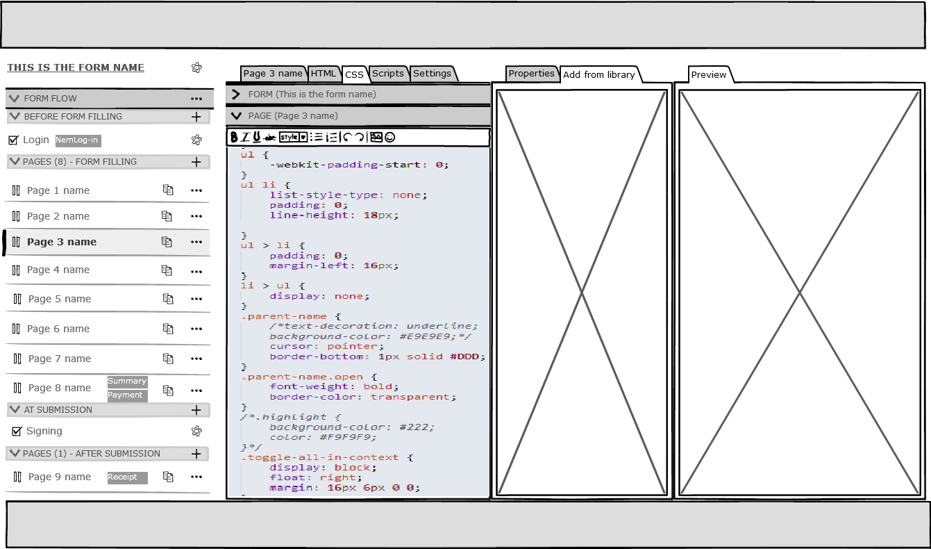 One of the very first Balsamiq sketches with multiple full-height panels.